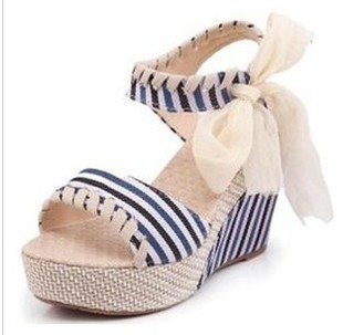 Fashion canvas stripe bow navy style hasp platform wedges sandals high-heeled shoes women's shoes