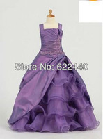 Free Shipping Fashion Style Purple Applique Floor-Length Ball Gown Flower Girls Dress