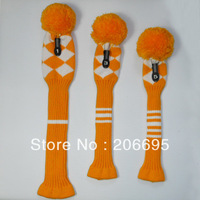 vintage Orange /white  Argyle style pom pom golf headcover, head cover, Acrylic yarn knitted, with number tag, set of 3