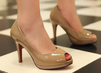 Free shipping 2013 open toe shoe OL outfit formal shoes japanned leather thin heels high-heeled shoes fashion star style