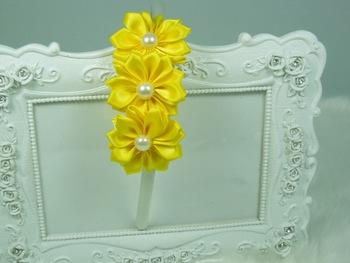 Triple Saitn Ribbon Flower Plastic Hairband For Baby Girls Headband Newborn headband Girls hair accessories 20pcs/lot