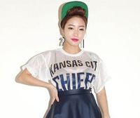 crop top for women fashion 2013 letter print top  sexy loose mesh t shirt O neck  short sleeve white  midriff  free shipping