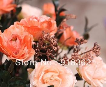 Diamond Peony,Free Shipping(10bunches/Lot)European Style,Silk Peony Flower Bunch,w/10pcs Flowers,Silk Leaf,5C can Mix Per Lot