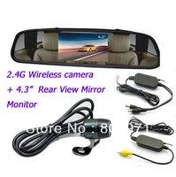 4.3 inch car monitor Color Digital TFT LCD Screen +2.4G Wireless Car Rear View Reversing 170 Camera