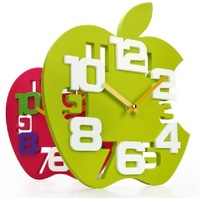 Hot Sale!Free shipping New Arrival  wall clock fashion apple shaped clock home decor gift craft product 4 colors 1pc/lot