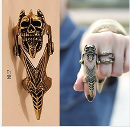 Korea Style Punk Rock & Roll Wind Personality Skull Joint Ring Min.order is $ 8 (mix order) Free Shipping (Bronze)(China (Mainland))
