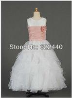Free Shipping Custom-made Free Shipping Organza Drapped Flower Girls Dress Fashion Style