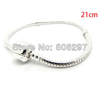 Wholesale! 20Pcs Plated Silver / Snake Chain Charms Bracelets / Fit European Beads / 21cm Jewelry Finding