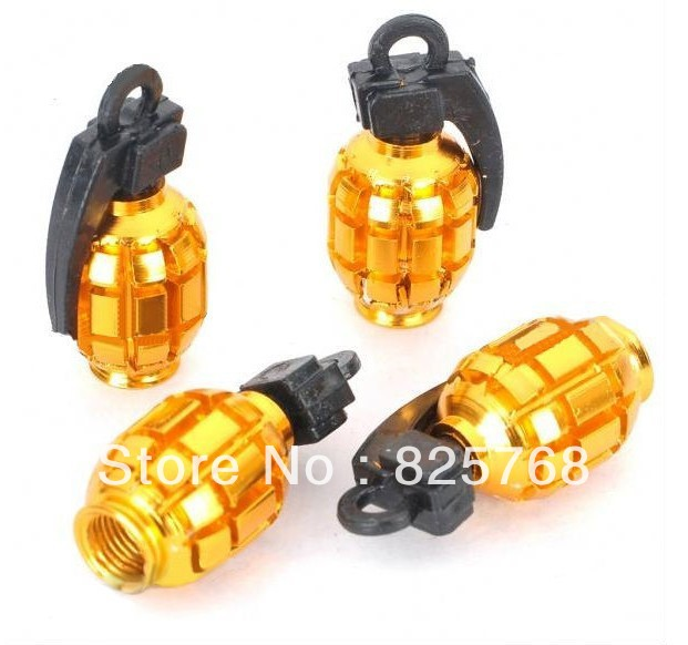 Cool Grenade Shaped Motorcycle/Car Tire Valve Dust Cap Cover - Gold (4-Piece Pack)(China (Mainland))