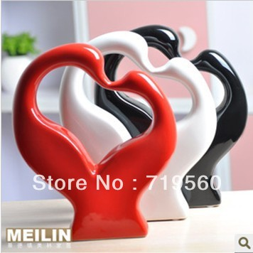 1pcs+3 color HOT!!sell! DIY ceramic handcraft home decoration kids gift figurine kits+wedding dolls craft Fashion swan modern(China (Mainland))