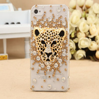 New Luxurious leopard head case for  iphone 4 4S case for iphone 5 5s Rhinestone Hand personalized protective moblie phone cases