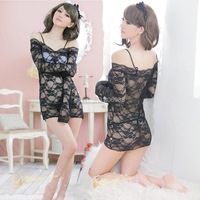 Latest listing of Midnight charm sexy lingerie sexy lingerie temptation of Europe and America lace long-sleeved pajamas black