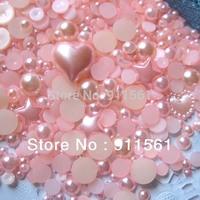 Free Shipping 1000pcs/Lots DIY Pearlized Flat Round Pearl/Rhinestones Cabochons Mixed Size MG-SC03