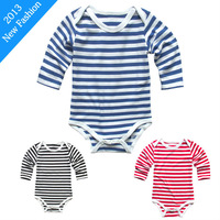 2013 Latest Fashion Personalised Custome Stripy Baby Grow/Romper/Sleep Suit/Vest Child Junpsuit Free Shipping