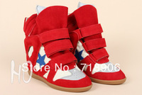 Isabel Marant Bayley High-top Wedge Sneakers Star 100% Original Genuine Leather Height Increase Sneakers