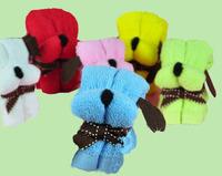 10PCS/Lot 20x20Cm Cute Design Mini Cartoon Cake Towel Dog Puppy Small Kerchief Towel Mix Color With Bag Wrappe