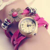 2013 new hot sale high quality leather watch new design flower Bracelet twatches for women free shipping