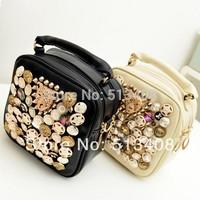 fashion bags women 2013 shoulder bags button vintage punk rivet handbag leopard PU leather bag drop shipping