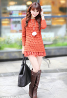 2013 spring female stereo knitted o-neck long-sleeve sweater dress