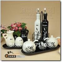 Fashion ceramic spice jar set seasoning box seasoning box rustic kitchen utensils supplies tableware  Free shipping