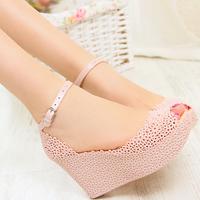 Women Sandal,Free Shipping 2014 women's cutout jelly plastic Summer Sandals paltform Women Shoes High Heel open Toe Wedges  hole
