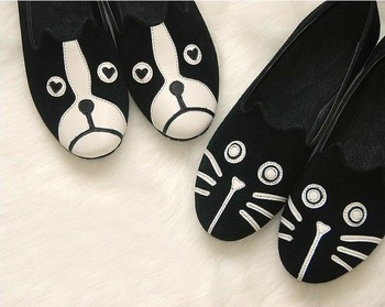Fashion personality cat 2013 mj dog shoes cartoon shoes casual flat bottom velvet low single shoes flat heel female