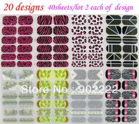 Nail foils 3d nail art sticker nail polish sticker konad zebra leopard 40sheets/lot free shipping