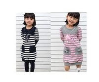 5pcs baby girls striped dress long sleeve princess necklace dress children spring autumn clothes free shipping