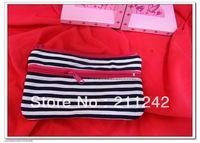 Navy blue color stripes print canvas cosmetic bag with 2 zipper pocekt, nylon mesh backside