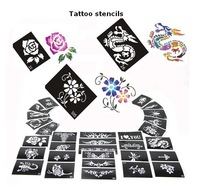 50 Mixed Design Sheets Stencils for Body Painting Glitter Temporay Tattoo Kit