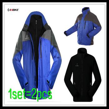Free Shipping Windproof 2 Pcs Outdoor Winter Sports Coat + Removable Inner Fleece Jacket Windbreakers Sportswear - Man