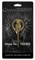 Free shipping!12pcs/lots Wholesale Gold NEW Metal HBO GAME OF THRONES Hand of the King Brooch Pin UN25006