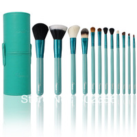 HOT! NEW Arrival SIXPLUS 12pcs Makeup Brush Set in Round Green Leather case HQ