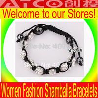 Shamballa jewelry Wholesale New White Crystal Shamballa Bracelets Micro Pave CZ Disco Ball Bead,Shamballa Clay Bracelet