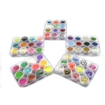 Free Shipping 60 Box Color 5 Style Crushed Shell Acrylic Nail Art Glitter Powder