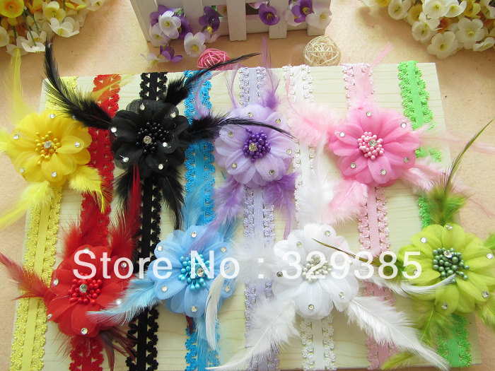 Free shipping ! Lot 8pcs (2.5inch Feather hair flower + Hair Bows + Elastic 0.7inch head band)Girl baby headband Flower feather(China (Mainland))
