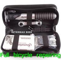 Free Shipping Road Mountain Bike Bicycling Cycling Riding Portable Repairing Tool Set Suite Kit+Glue+Pump+Wrench+Donate Bag