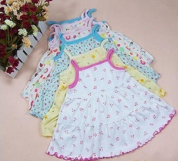 Free shipping!!! Lively princess design Baby Spaghetti Strap Tiered/Layered dresses, soft cotton dress for baby infant/ toddler
