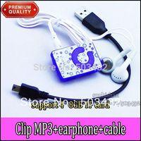BY DHL 600pcs MP3+600pcs USB Cable+600pcs Earphone Mini Clip Mp3 player Digital MP3 Player card mp3 player w/ TF Slot 6 colors