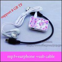 DHL 100pcs MP3+100PCS USB Cable+100pcs Earphone Mini Clip Mp3 player Digital MP3 Player card mp3 player w/ TF Slot 6 colors