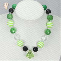 NC30594 bubblegum green girl's chunky necklace   beautiful  sweets chunky bubblegum acrylic necklace