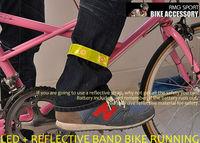Free shipping 3 pcs/lot,reflective Safety Band Pants Velcro Band Leg belt,4 LED flash Bicycle Reflective arm Leg Strap