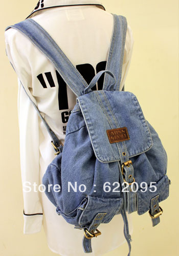 Free Shopping New Women Korean Version Retro Jeans Backpack School Travel Sling Drawstring Denim Bag For High School Teenagers(China (Mainland))