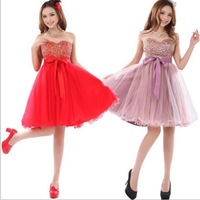 20134Wedding fashion short design chiffon paillette dress married Strapless evening prom dresses mini dress