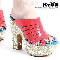 Free shipping Kvoll  pearl japanned leather print slippers thick heel ultra high heels platform red orange color