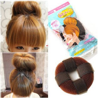 Free shipping (4 pieces/lot) donuts band hair maker meatball head short hair tools B0023(China (Mainland))