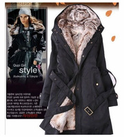 New  Hotsale Holiday Sale 2013 Winter Faux fur lining women's winter warm long fur coat jacket clothes wholesale Price