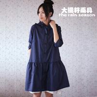 Free shipping 100%waterproof 100%breathable thinner lightweight  fashion polka dot women's raincoat poncho rain trench coat
