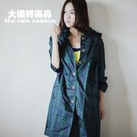 Free shipping waterproof fashion comfortable raincoat poncho classic green plaid hat the disassemblability raincoats