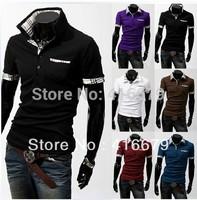 Free Shipping 2014 New Men's T-Shirts Casual Slim Fit Stylish Short-Sleeve Shirt Cotton T-shirt Size:M-XXL